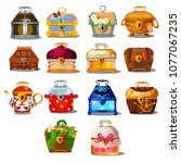 set of closed treasure chests... | Shutterstock .eps vector #1077067235
