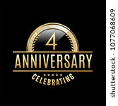 4 years anniversary emblem....   Shutterstock .eps vector #1077068609