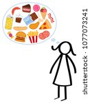slim stick figure woman on a... | Shutterstock .eps vector #1077073241