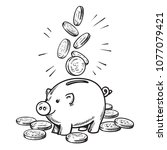 cartoon piggy bank with falling ... | Shutterstock .eps vector #1077079421