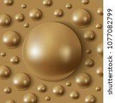 realistic golden hemispheres on ... | Shutterstock .eps vector #1077082799