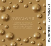 realistic gold spheres on the... | Shutterstock .eps vector #1077082805