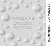 realistic vector pearls banner. ... | Shutterstock .eps vector #1077082814