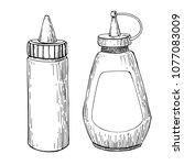 ketchup  mustard or mayonnaise... | Shutterstock .eps vector #1077083009