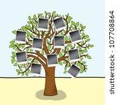 family album.  tree with frames ...   Shutterstock .eps vector #107708864