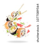 different fresh sushi rolls... | Shutterstock . vector #1077089564