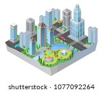 vector 3d isometric city ... | Shutterstock .eps vector #1077092264
