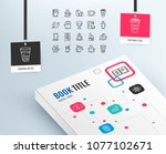 coffee and tea line icons. set... | Shutterstock .eps vector #1077102671