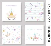 unicorn cute cards and seamless ... | Shutterstock .eps vector #1077108404