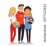 group of students with books | Shutterstock .eps vector #1077122621