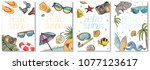 collection of colorful cards on ... | Shutterstock .eps vector #1077123617