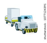airport luggage towing truck...   Shutterstock .eps vector #1077124391