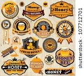 vintage frame with honey label... | Shutterstock .eps vector #107712701