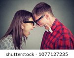 side view of man and woman in... | Shutterstock . vector #1077127235