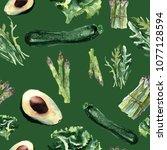 vegetables seamless pattern.  ... | Shutterstock . vector #1077128594