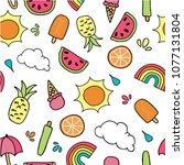 vector summer seamless repeat...   Shutterstock .eps vector #1077131804