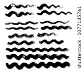 black wave brush strokes vector ... | Shutterstock .eps vector #1077135761