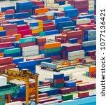 singapore industrial port full... | Shutterstock . vector #1077136421