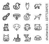 set of 16 animals outline icons ... | Shutterstock .eps vector #1077136925