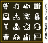 set of 16 people filled icons... | Shutterstock .eps vector #1077139991