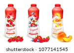 set of yogurt with strawberry ... | Shutterstock .eps vector #1077141545