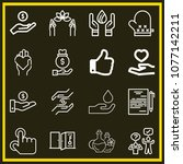 set of 16 hand outline icons... | Shutterstock .eps vector #1077142211