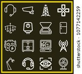 set of 16 technology outline... | Shutterstock .eps vector #1077142259