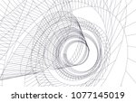 abstract architecture vector 3d ... | Shutterstock .eps vector #1077145019