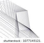 abstract architecture vector 3d ... | Shutterstock .eps vector #1077145121