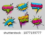 sweet woo shit super hero pop... | Shutterstock .eps vector #1077155777