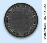 round leather stitched label.... | Shutterstock . vector #1077158651