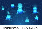 cryptocurrency and blockchain... | Shutterstock .eps vector #1077161027