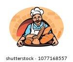 baker with bread in hand logo   Shutterstock .eps vector #1077168557