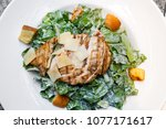 grilled chicken breast and... | Shutterstock . vector #1077171617