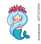 cute mermaid with long blue... | Shutterstock .eps vector #1077171914