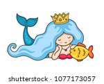 beautiful lying dreamy mermaid... | Shutterstock .eps vector #1077173057