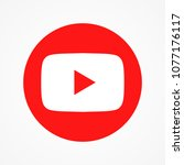 red round button video player... | Shutterstock .eps vector #1077176117