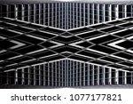 glass in metal framework.... | Shutterstock . vector #1077177821