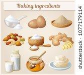 baking ingredients cartoon...   Shutterstock .eps vector #1077179114