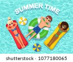 smile woman  man swims  tanning ... | Shutterstock .eps vector #1077180065