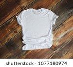 white t shirt mockup flat lay... | Shutterstock . vector #1077180974