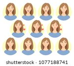 emotions of woman face. facial... | Shutterstock .eps vector #1077188741