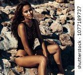 fashion portrait of beautiful... | Shutterstock . vector #1077189737