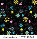 floral colorful seamless... | Shutterstock .eps vector #1077193769