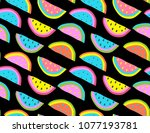 crazy seamless tropical... | Shutterstock .eps vector #1077193781