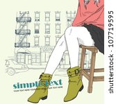pretty fashion girl in sketch...   Shutterstock .eps vector #107719595