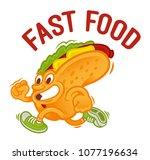 crazy street food cartoon... | Shutterstock .eps vector #1077196634