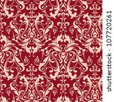 Red Damask Seamless Background