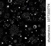 space galaxy constellation... | Shutterstock .eps vector #1077203774