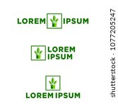 plant leaf logo template vector | Shutterstock .eps vector #1077205247
